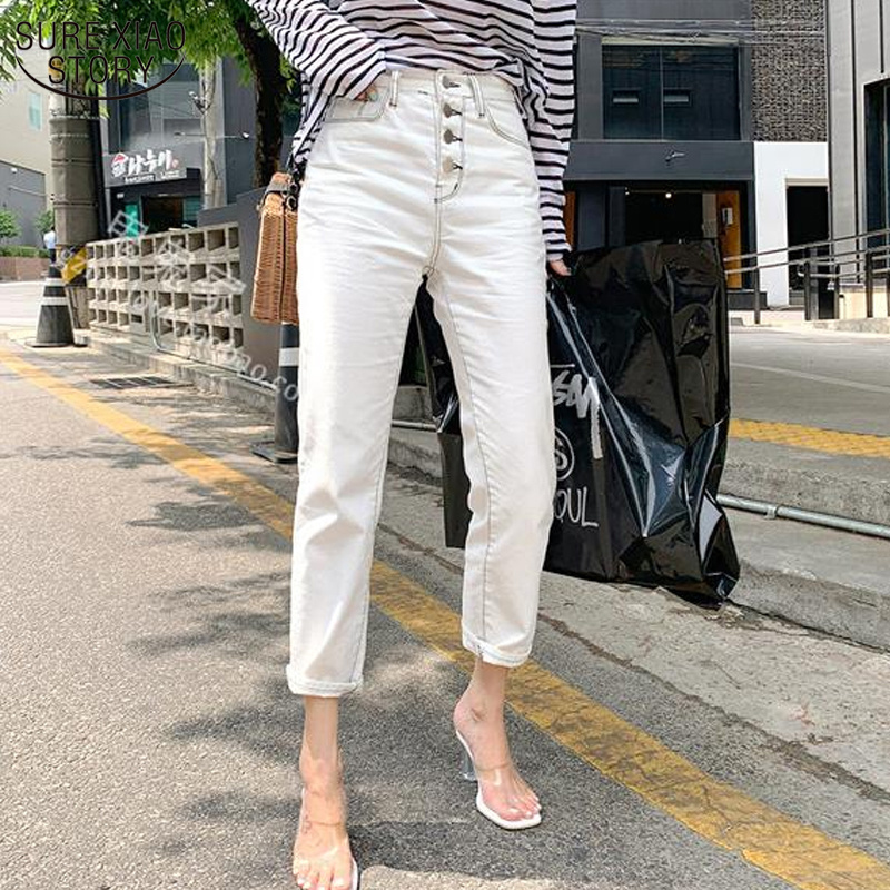 Korean Style Jeans for Women Autumn New Women's Classic All-match Elastic White Straight Casual Pants Capri Jeans Woman 10417