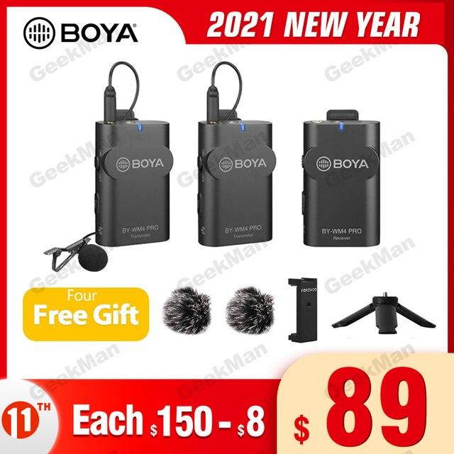 Boya BY WM4 PRO K1 K2 kablosuz stüdyo kondenser mikrofon sistemi yaka yaka röportaj Mic iPhone Canon Nikon kameralar