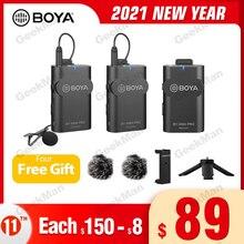 Boya BY WM4 pro k1 k2 estúdio sem fio sistema de microfone condensador lapela lapela entrevista microfone para iphone canon nikon câmeras