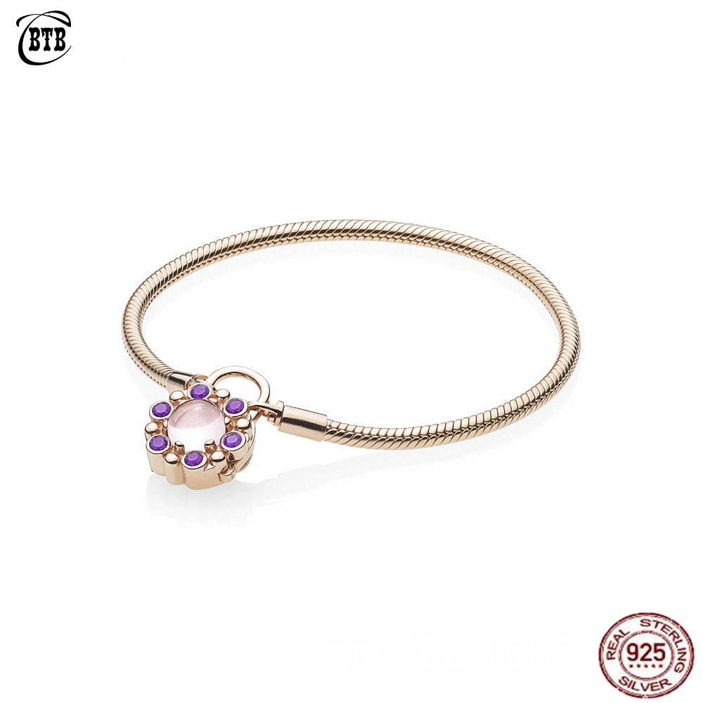 925 argent Sterling violet cristal CZ amour serrure boucle or Rose serpent Bracelet ajustement bricolage perles breloques pour les femmes bijoux originaux