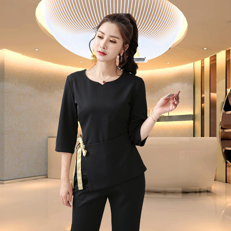 Beauty Salon SPA Women Work Clothing Hotel Waiter Work Clothes SPA Uniform Autumn Seven-quarter Sleeve Sauna Foot Bath Uniforms