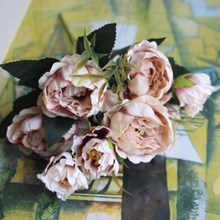 Silk European Style Peony Bouquet Artificial Flower Fake Rose Wedding Bride Bouquet Decor For Home Hotel Table Accessories 10 heads artificial rose flowers bouquet 30cm fake tea rose silk flower bride bouquet home wedding decor diy supplies european