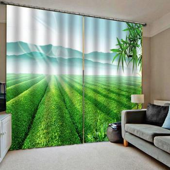 Green curtains landscape 3D Window Curtain Dinosaur print Luxury Blackout For Living Room