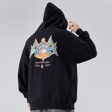 Yeni çin tarzı pekin Opera yüz işlemeli Hoodie erkek hip hop peluş gevşek hoodie ceket