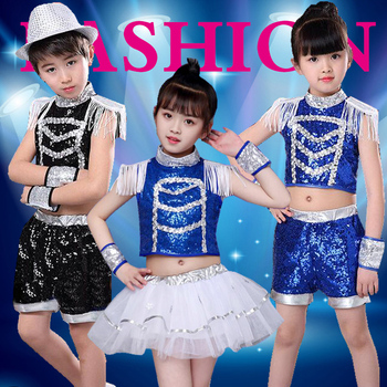 Children's jazz dance Latin dance costumes boys and girls sequins hip-hop hip-hop performance clothing costumes printio hip hop