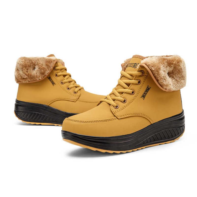 Kış kadın kar botları sıcak bayanlar yarım çizmeler kadın kadın kürklü peluş kadın dantel Up platformu pamuk kadife ayakkabı