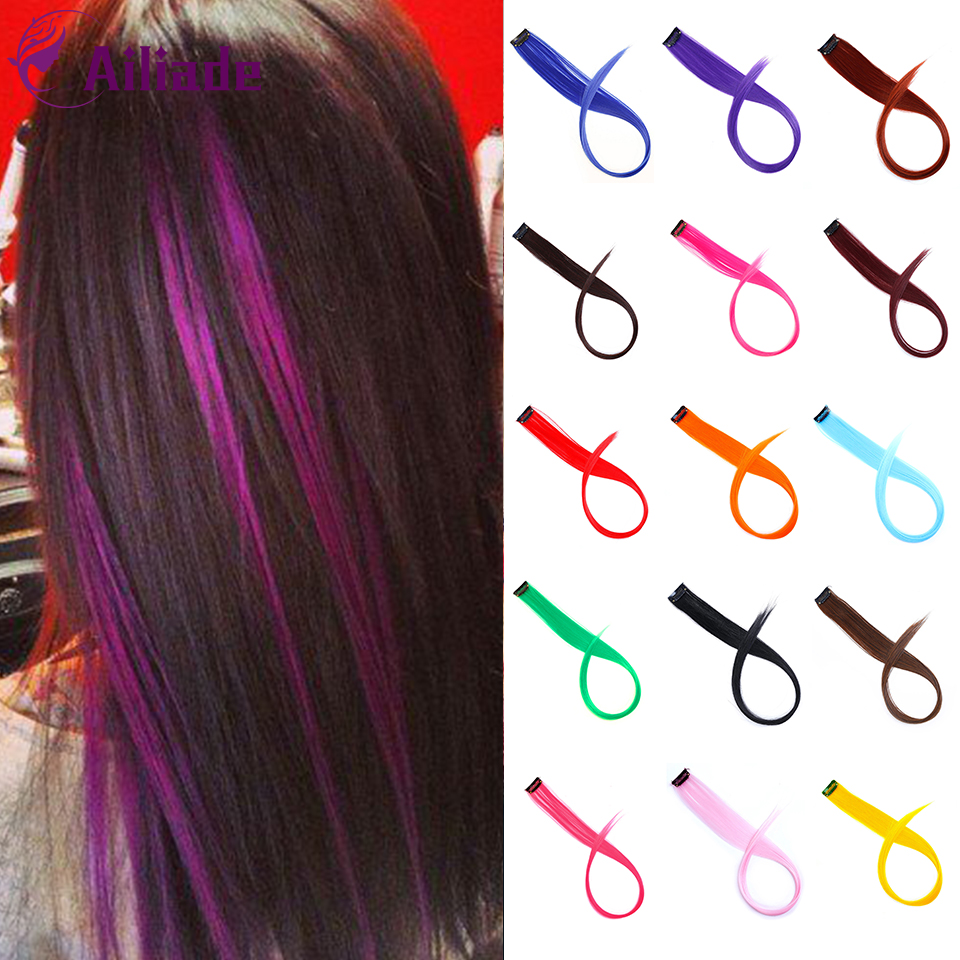 AILIADE Straight Fake Colored Hair Extensions Clip In Highlight Rainbow Hair Streak Pink Blue Synthetic Hair Strands On Clips