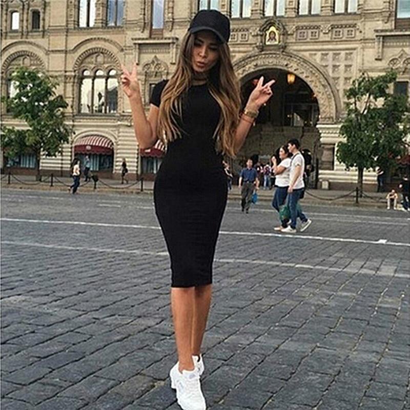 Summer Dresses Women Knee-Length Skinny Office Dress Short Sleeve Bandage Bodycon Beach Dress Vestidos Robes