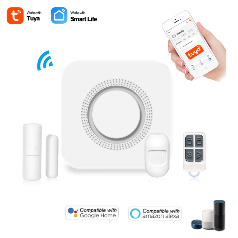 Tuya Wifi Home Burglar Security Timing Alarm System Smart Life 433MHz Voice Remote Controllor 100dB Alarm Sound With Light Siren