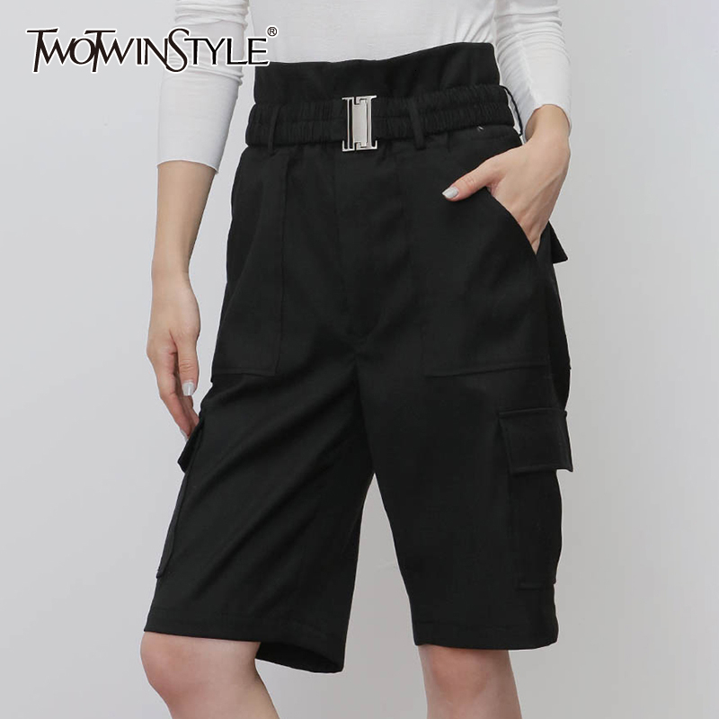 TWOTWINSTYLE Casual Lace Up Black Knee Length Short For Female High Waist Ruched Cargo Shorts Women 2019 Clothing Fashion Tide