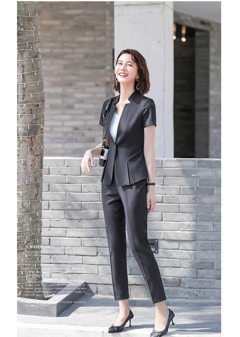 Female Elegant Formal Office  Work Wear Summer Black Blazer Women Pants Suits Sets Office Ladies Business Clothes Short Sleeve