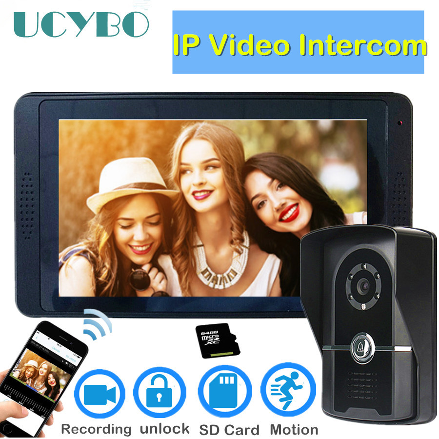 WIFi Wireless Video Intercom System Touch Screen Smart Wired Video Doorbell Camera SD Card Recording IP Video Door Phone Kit