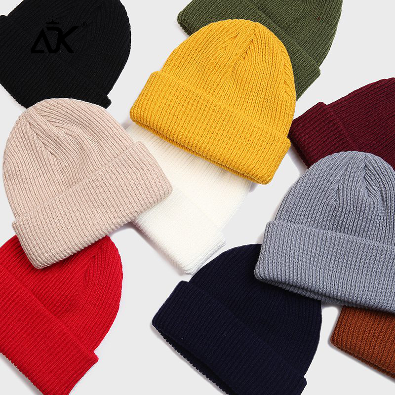 Knitted Hats Stretchy Skull Cap UNisex Bonnet High Quality Thicker Breathable Casual Hats Ribbed Cuffed Hats