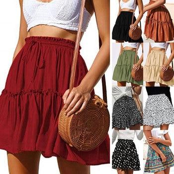 Laamei 2020 New Skirts Women's Flared Short Skirt Polka Dot Pleated Mini Skater Skirt with Drawstring 2020 new woman skirts summer fashion polka dot big skirt short skirt leopard street hipster wave skirt