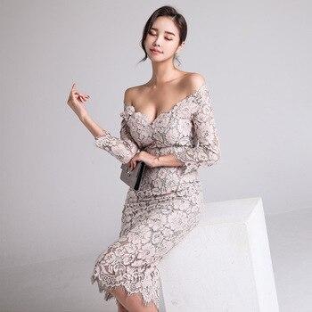 Mode Neue angekommen frauen Kleid Herbst 2019 Neue Ein-neck Low-brust Spitze Sieben-minute Hülse -gewickelt Hüfte Kleid