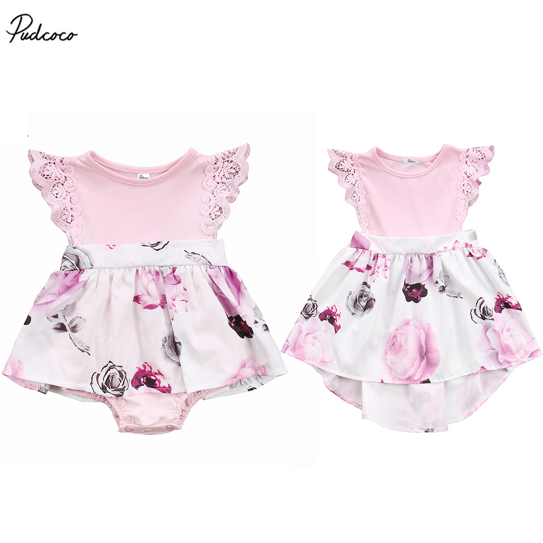 Pudcoco Sister Matching Floral Lace Toddler Kids Girl Dress Newborn Baby Sisters Dress Sleveless Romper/Sundress Clothes 0-6T