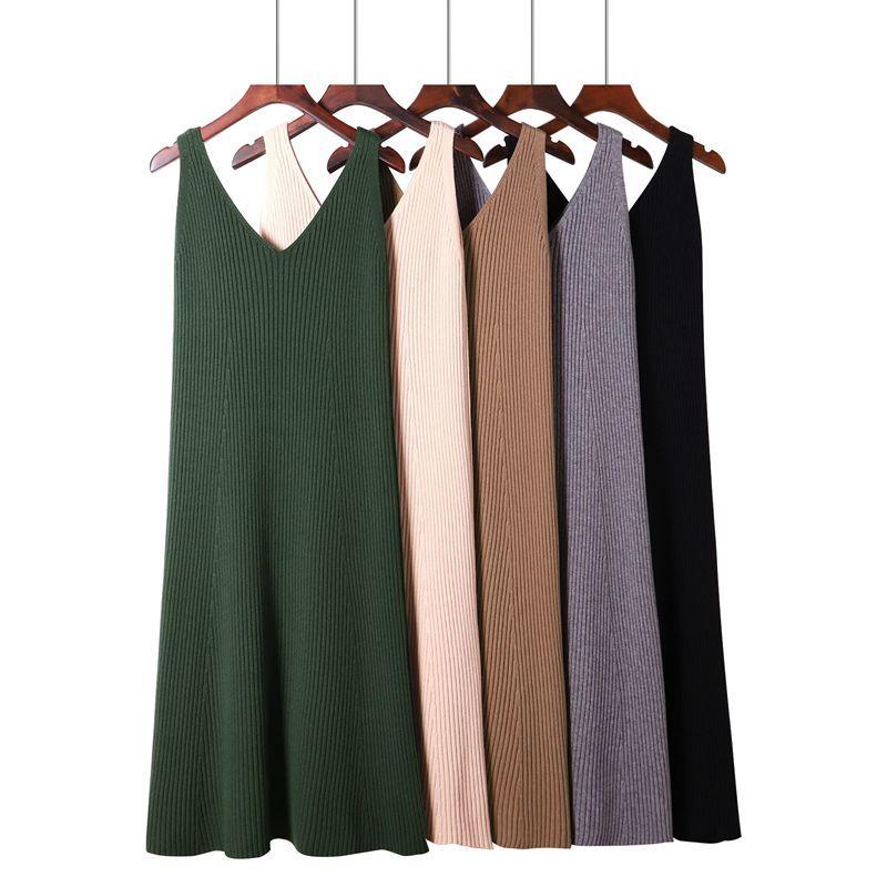 Женское трикотажное платье GIGOGOU, Осеннее трикотажное платье-свитер с v-образным вырезом на бретельках до середины икры, эластичное платье-дж...