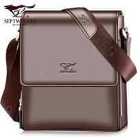 Septwolves fashion men bag split leather male handbag shoulder bags business men messenger bags brand