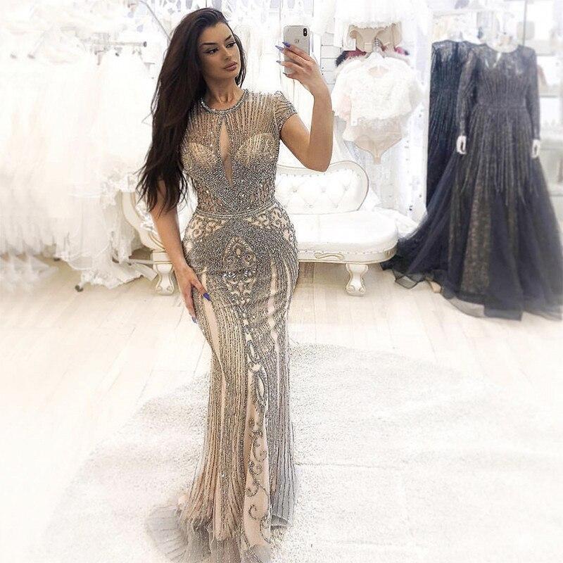 Luxe argent or sirène robes De soirée longue perlée cristal à manches courtes robes De soirée Robe De soirée Fomal Robe Longo
