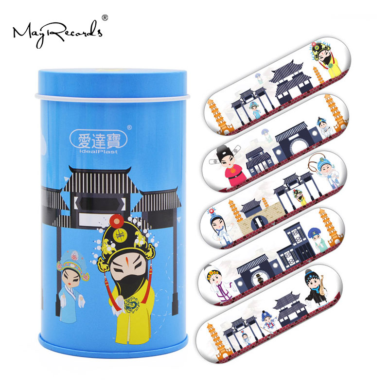Free Shipping 50PCs Cartoon PE Waterproof Chinese Peking Opera Style Adhesive Bandages Band Aid First Aid
