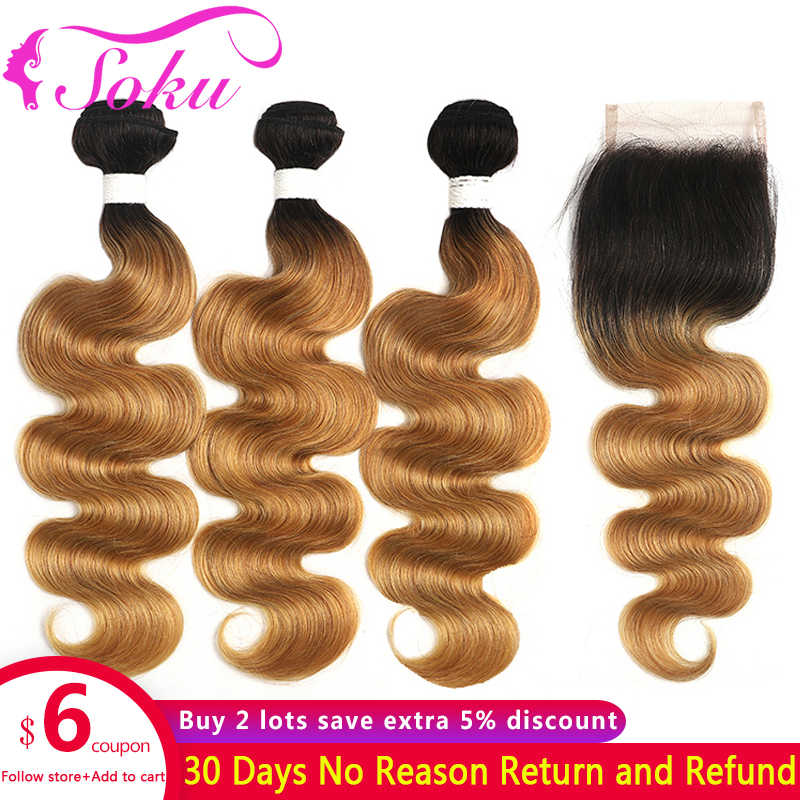 Ombre Bundles With Closure 1B/27 Honey Blonde Body Wave Bundles With Closure SOKU Brazilian Hair Weave With Closure 4x4 Non-Remy