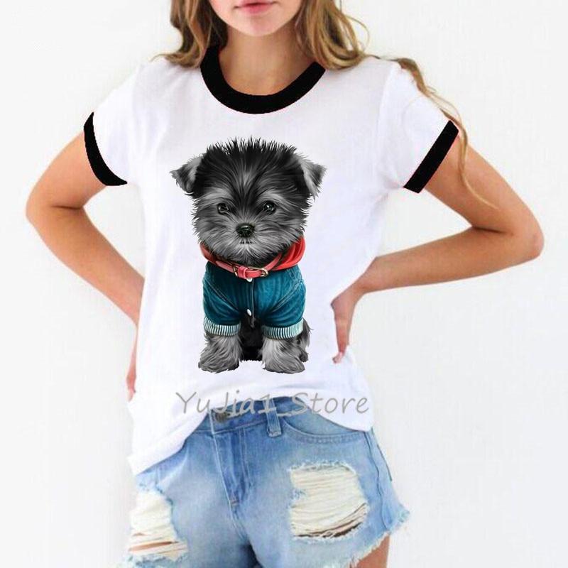 Female T-shirt Kawaii Yorkies Print Tshirt Women Summer Top Streetwear Woman Clothes Dog Lover Tees Chemise Femme T Shirt