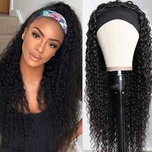 Headband Wig Human Hair Kinky Curly Brazilian Remy Full Machine Made Headband Wig For Black Women Jerry Curly Natural Color