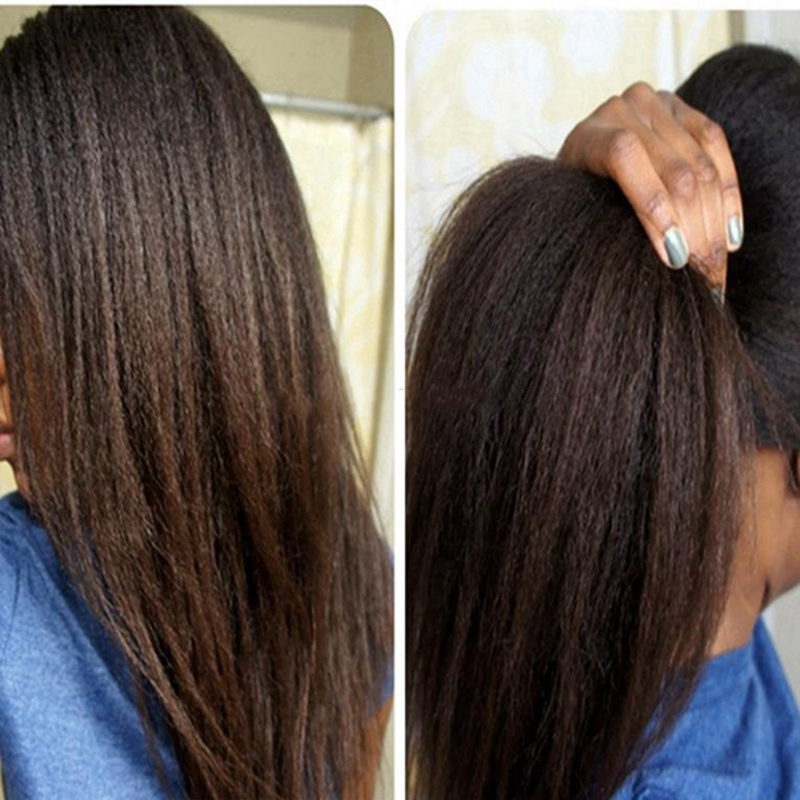 Heat Resistant Afro Kinky Lace Front Wig Natural Glueless Synthetic Hair Straight Lace Front Wigs For Black Women with Baby Hair