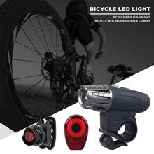 2pcs/Set 4 Modes LED Bike Headlight Various Specifications Optional Practical Tail Lamp Kit for Cycling Warning Flashlight