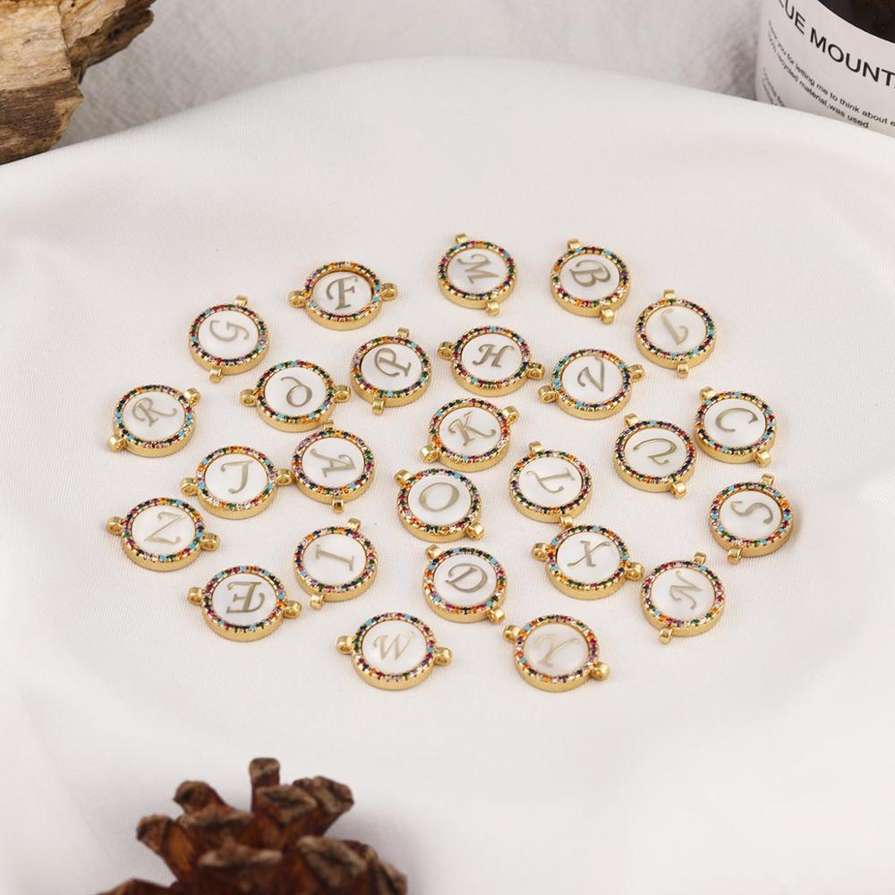 New Copper Rhinestone Colorful Charms Pendant 26 Initial Letters Necklace Bracelet For Women Jewelry Making DIY Accessories