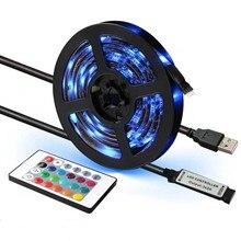 USB Tira CONDUZIDA DC 5V 50CM 1M 2M 3M 4M 5M Mini 3Key 24Key Flexível Da Lâmpada de Luz SMD 2835 Decoração da Mesa De Iluminação de Fundo de Tela de TV