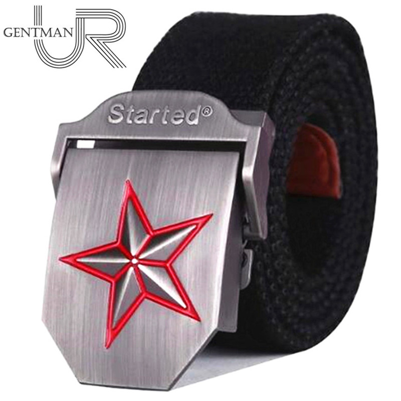 Hot 3D-Red Star Buckle Military Belt Fashion Strong Canvas Army Tactical Belt For Men & Women Top Quality Belts Luxury Strap