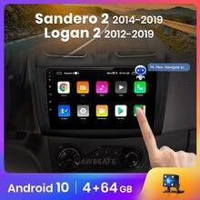Автомагнитола AWESAFE PX9 для Renault Logan, Sandero 2014-2019, мультимедийный видеоплеер с GPS, 2din, Android 10,0, 2 ГБ + 32 ГБ