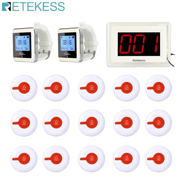 Retekess Call Waiter Wireless Calling System Receiver Host +2 Watch Receiver+15 Call Button Transmitters Restaurant Pager