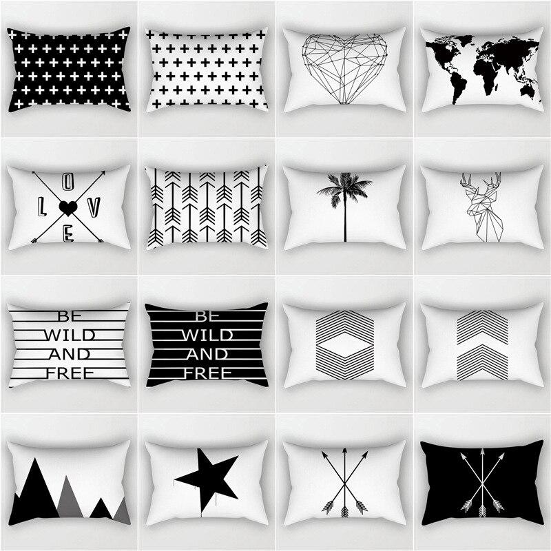 Черно-белая декоративная наволочка из полиэстера с геометрическим рисунком, 30x50