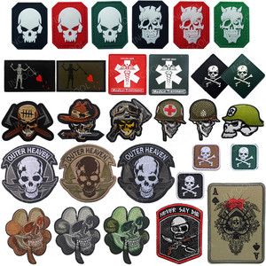 Decorative Embroidered Patch Tactical Skull Military Reflective Patch Emblems Rubber Funny Badges Embroidery Motorcycle Patches