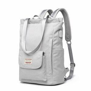 Водонепроницаемый стильный рюкзак для ноутбука для женщин 13 13,3 14 15,6 дюйма, корейская мода, Оксфорд, холст, USB, рюкзак для колледжа, женский но...