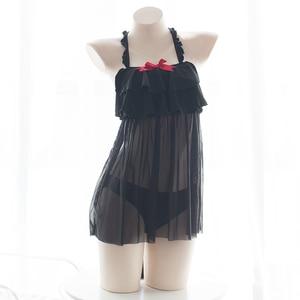 Image 3 - Lencería Sexy japonesa erótica, disfraz Cosplay de gato, bragas abiertas en la entrepierna, cofre hueco en la cola, ropa de dormir de encaje erótico para mujer negra