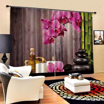 brown woods curtain Customized size Luxury Blackout 3D Window Curtains For Living Room green bamboo curtains