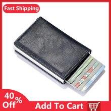 Nuovi uomini donne portafoglio intelligente porta carte di credito porta carte di credito borsa in lega di alluminio Business Casual Mini portafoglio borsa in pelle di marca