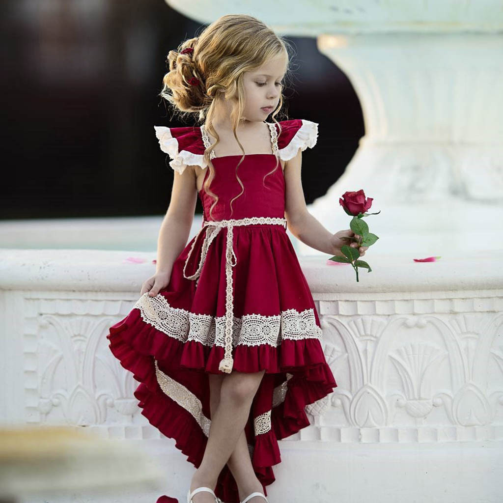 Floral Baby Girl Princess Dress Bridesmaid Pageant Gown Birthday Party Wedding Dress Sleeveless Cute Girl Dress Vestido Menina