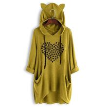 2019 Fashion T-Shirt For Women Mid Sleeve Hooded Cat Paw Letters Print Female Tshirt Tops Off The Shoulder