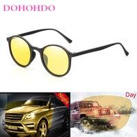 DOHOHDO Nachtsicht Sonnenbrille Unisex Männer Brille Gelb Klassische Runde Rahmen Gläser Fahrer Brillen Männlich Weiblich Brille UV400
