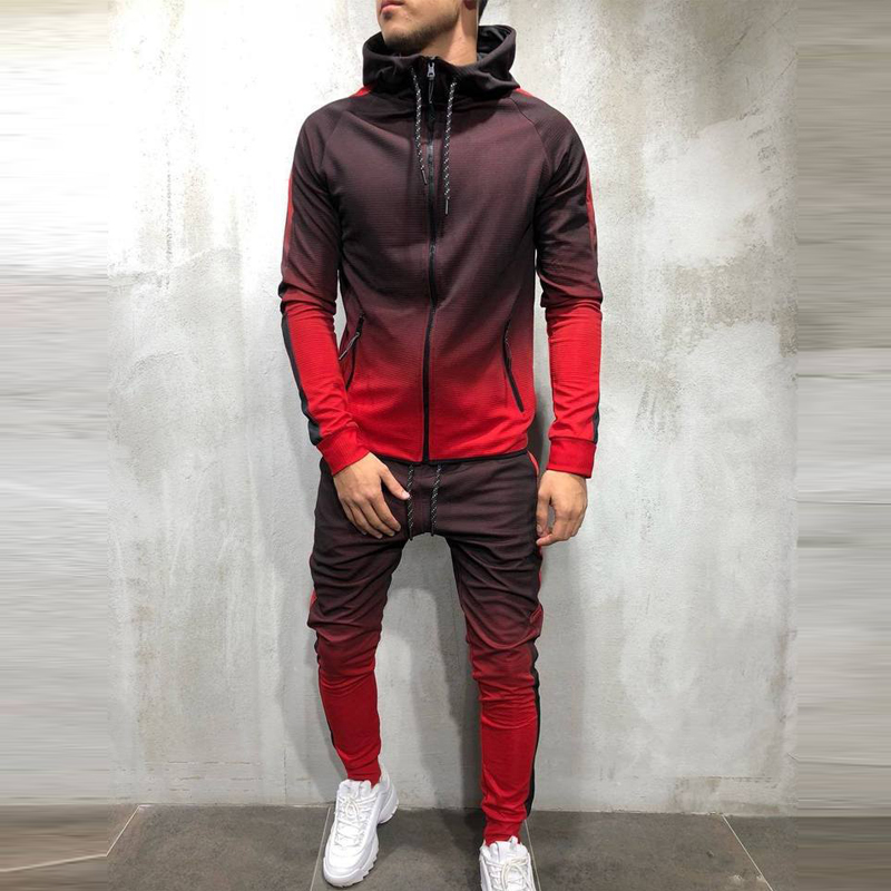 QNPQYX New Men Clothes Printed Hooded Tracksuit Men Set Sporting 2 Pieces Sweatsuit Zipper Hoodies Jacket Pants Track Suits Male