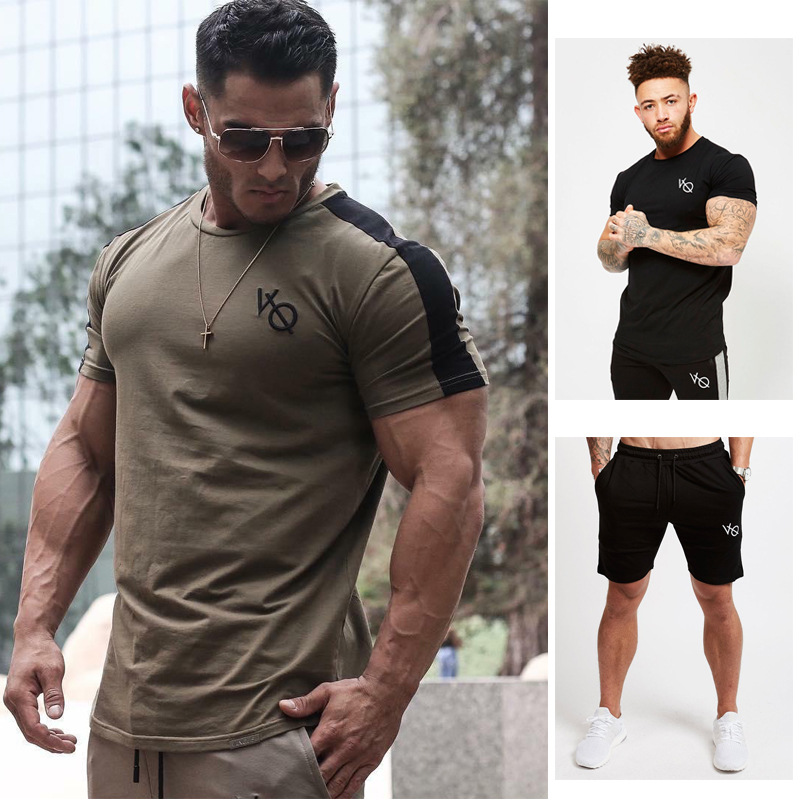 Summer 2019 New Sports T-shirt Fitness Running Fitness Leisure Short Sleeves + Short Pants Suit Leisure Breathable Men's Wear