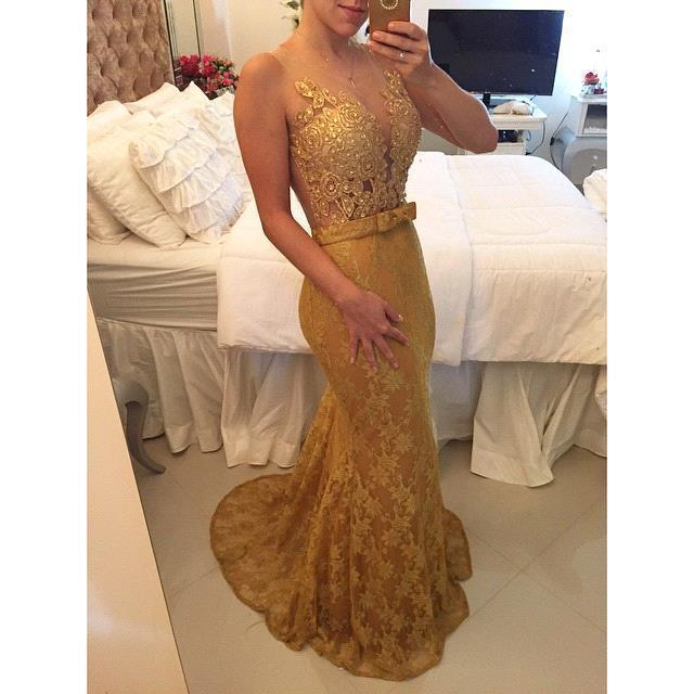 Golden Mermaid Evening Appliques Bow Knot Sashes Tulle Floor Length Party Prom Formal Gown Custom Mother Of The Bride Dresses