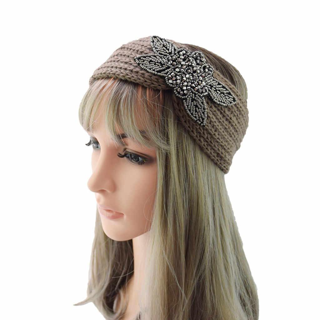 2019 ฤดูหนาวอุ่นหูถัก Headband Turban Lady ดอกไม้เพชรโครเชต์ยืดกว้าง Headwrap อุปกรณ์เสริมผม