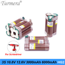 Turmera 3S 10.8V 12.6V 18650 HG2 3000mAh 6000mAh Lithium Battery 30A Soldering Strip for Screwdriver Battery Shurika Customize