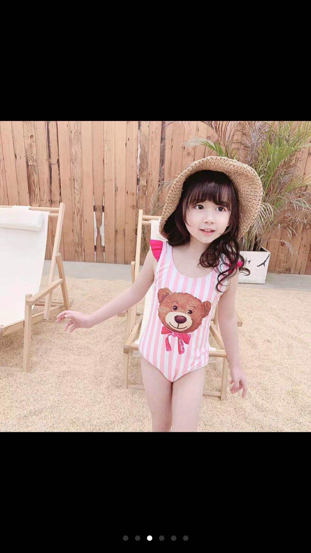 INS Hot Selling 2019 Spring And Summer New Style Black Swan Flamingo Parrot Children Girls Baby One-piece Swimming Suit