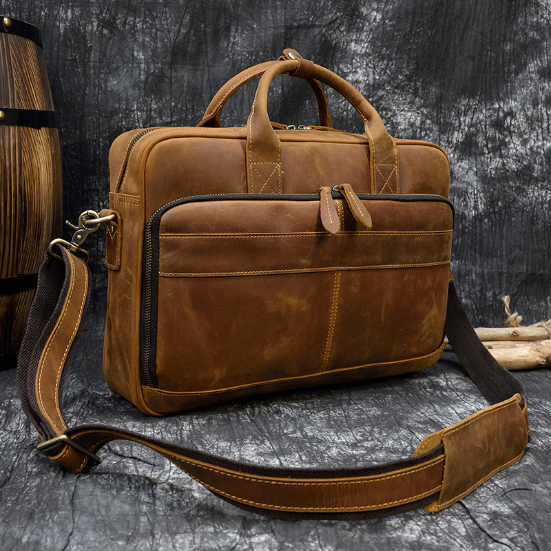 "H438b03daebe34c0fa6e84c6b404152bb9 MAHEU Men Briefcase Genuine Leather Laptop Bag 15.6"" PC Doctor Lawyer Computer Bag Cowhide Male Briefcase Cow Leather Men Bag"